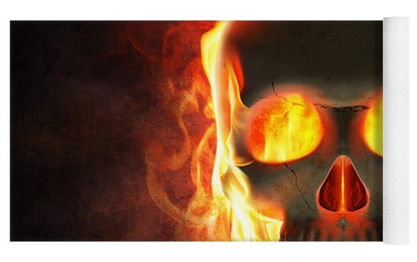 Evil Skull In Flames And Smoke Yoga Mat