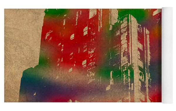Fisher Building Iconic Buildings Of Detroit Watercolor On Worn Canvas Series Number 4 Yoga Mat