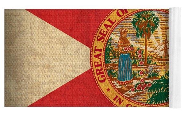 Florida State Flag Art On Worn Canvas Yoga Mat