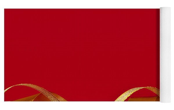 Gold And Red Christmas Decorations Yoga Mat
