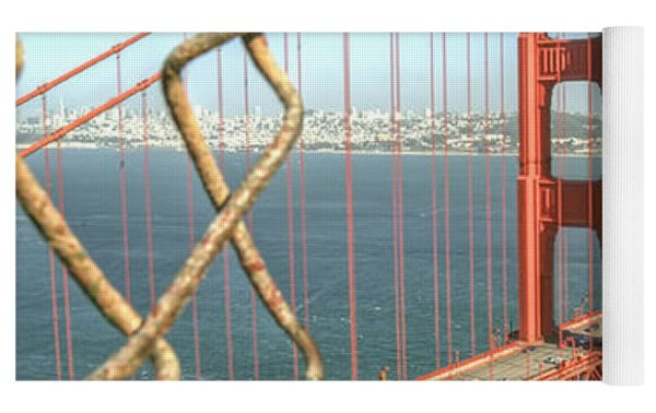 Golden Gate Through The Fence Yoga Mat by Scott Norris
