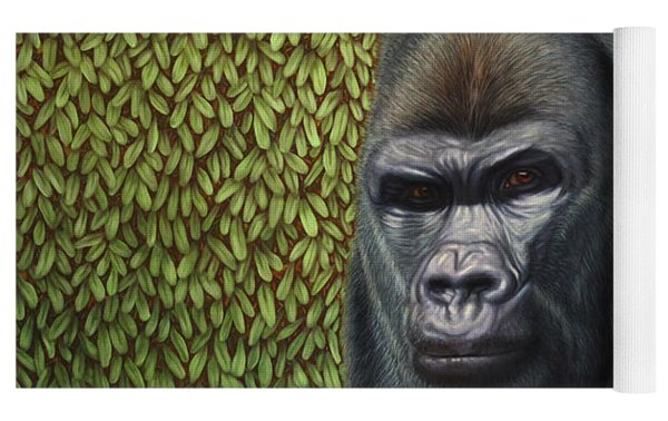 Gorilla With A Hedge Yoga Mat by James W Johnson