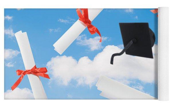 Graduation Caps And Scrolls Yoga Mat by Amanda Elwell