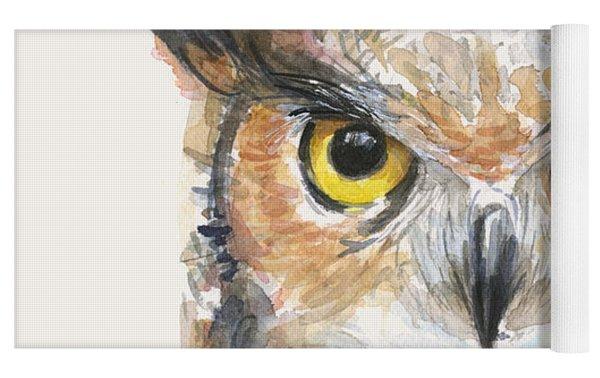 Great Horned Owl Watercolor Yoga Mat