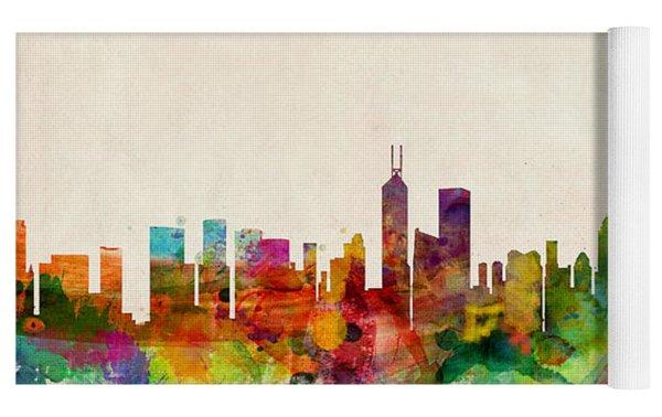 Hong Kong Skyline Yoga Mat by Michael Tompsett