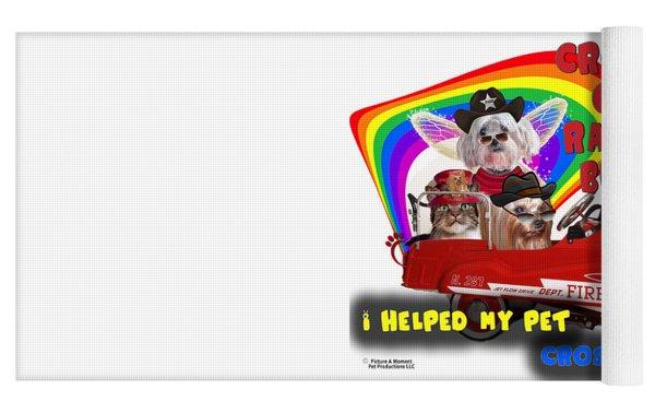 I Helped My Pet Cross Rainbow Bridge Yoga Mat by Kathy Tarochione