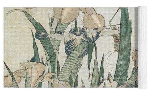 Iris Flowers And Grasshopper Yoga Mat