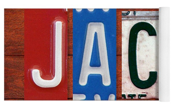 Jacob License Plate Name Sign Fun Kid Room Decor. Yoga Mat