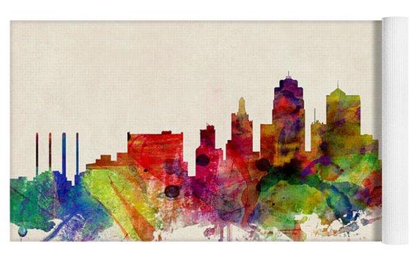 Kansas City Skyline Yoga Mat by Michael Tompsett
