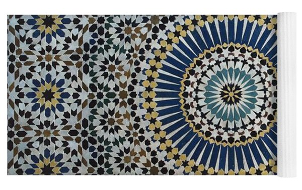 Kasbah Of Thamiel Glaoui Zellij Tilework Detail  Yoga Mat by Moroccan School
