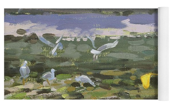 Kids And Seagulls Yoga Mat