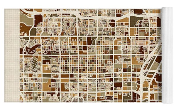 Las Vegas City Street Map Yoga Mat