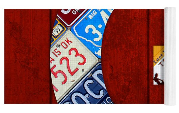 Letter G Alphabet Vintage License Plate Art Yoga Mat