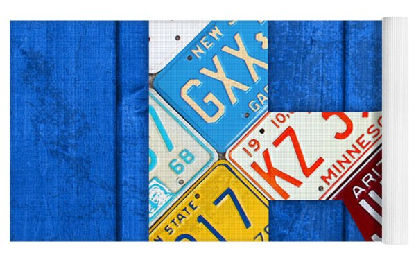 Letter R Alphabet Vintage License Plate Art Yoga Mat