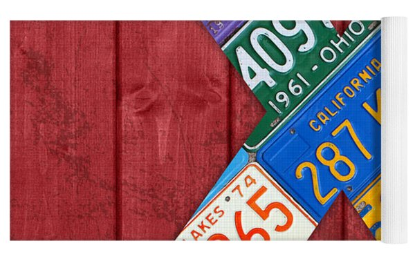 Letter X Alphabet Vintage License Plate Art Yoga Mat