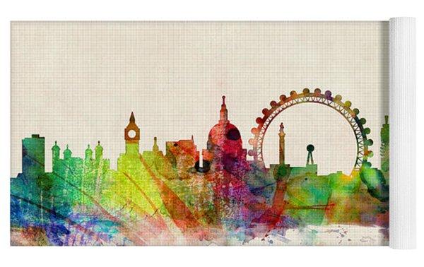 London Skyline Watercolour Yoga Mat by Michael Tompsett