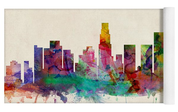 Los Angeles City Skyline Yoga Mat by Michael Tompsett