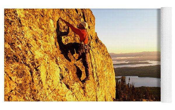 Man Climbing Up A Mountain, Rockchuck Yoga Mat