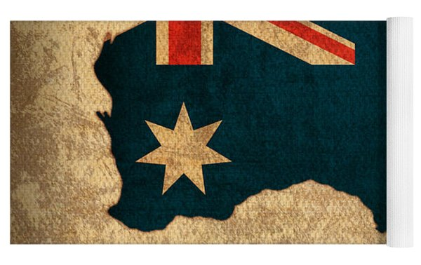 Map Of Australia With Flag Art On Distressed Worn Canvas Yoga Mat