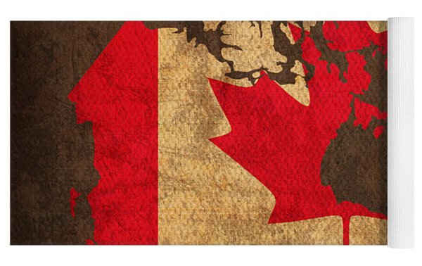 Map Of Canada With Flag Art On Distressed Worn Canvas Yoga Mat