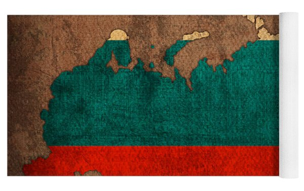 Map Of Russia With Flag Art On Distressed Worn Canvas Yoga Mat