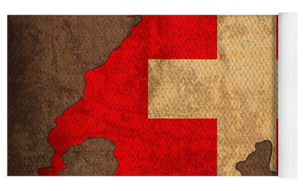 Map Of Switzerland With Flag Art On Distressed Worn Canvas Yoga Mat