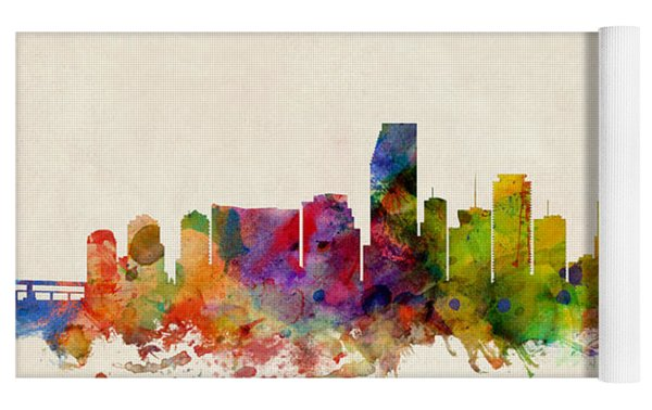 Miami Florida Skyline Yoga Mat by Michael Tompsett