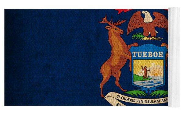 Michigan State Flag Art On Worn Canvas Yoga Mat