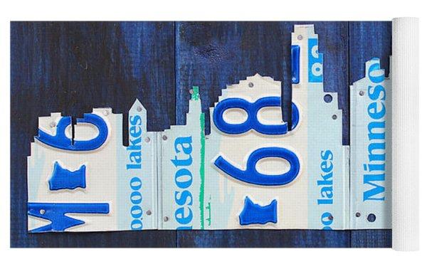 Minneapolis Minnesota City Skyline License Plate Art The Twin Cities Yoga Mat by Design Turnpike