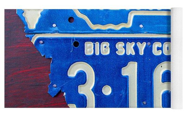 Montana License Plate Map Yoga Mat