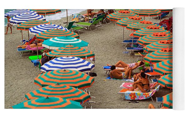 Monterosso Beach Yoga Mat by Inge Johnsson