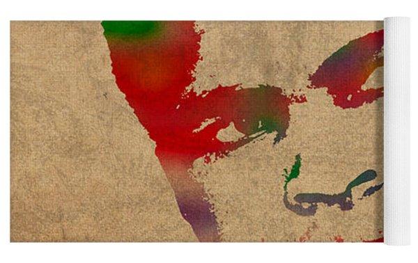 Muhammad Ali Watercolor Portrait On Worn Distressed Canvas Yoga Mat