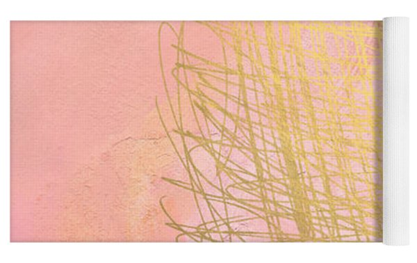 Nest- Pink And Gold Abstract Art Yoga Mat by Linda Woods