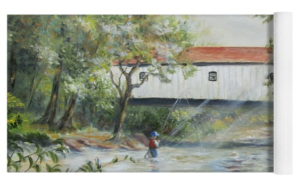 New Jersey's Last Covered Bridge Yoga Mat by Katalin Luczay