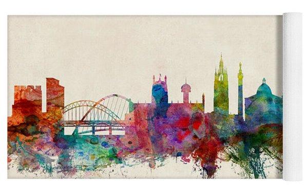 Newcastle England Skyline Yoga Mat by Michael Tompsett