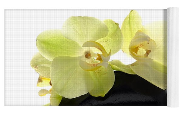 Orchid Flowers On Polished Stone Yoga Mat