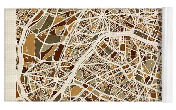 Paris France Street Map Yoga Mat by Michael Tompsett
