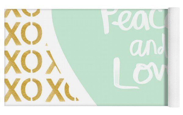 Peace And Love In Aqua And Gold Yoga Mat by Linda Woods