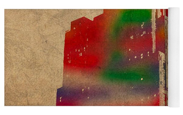 Penobscot Building Iconic Buildings Of Detroit Watercolor On Worn Canvas Series Number 5 Yoga Mat