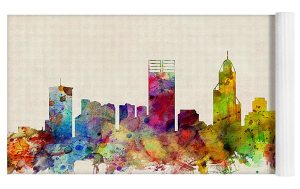 Perth Australia Skyline Yoga Mat by Michael Tompsett