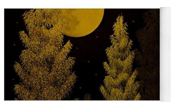 Pine Forest Moon Yoga Mat by David Dehner