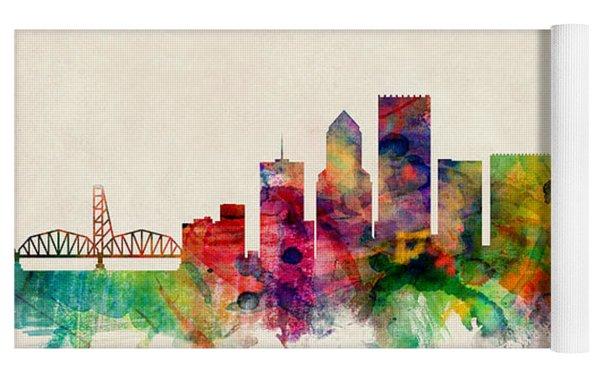 Portland Oregon Skyline Yoga Mat by Michael Tompsett