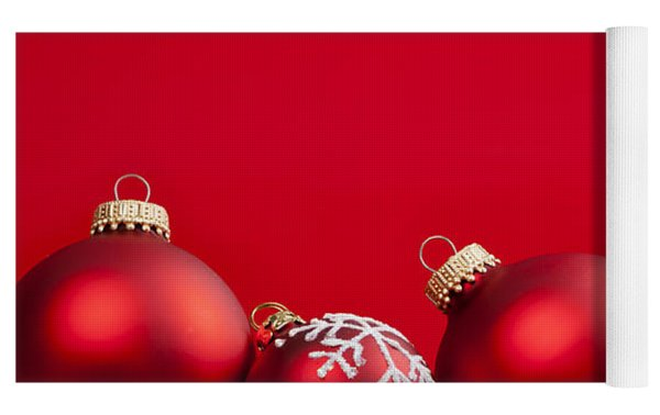 Red Christmas Baubles And Decorations Yoga Mat