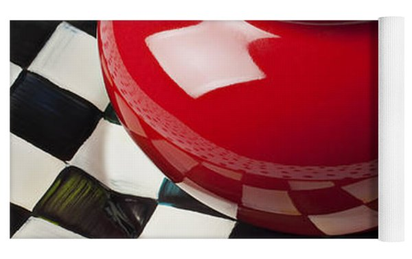 Red Teapot On Checkerboard Plate Yoga Mat