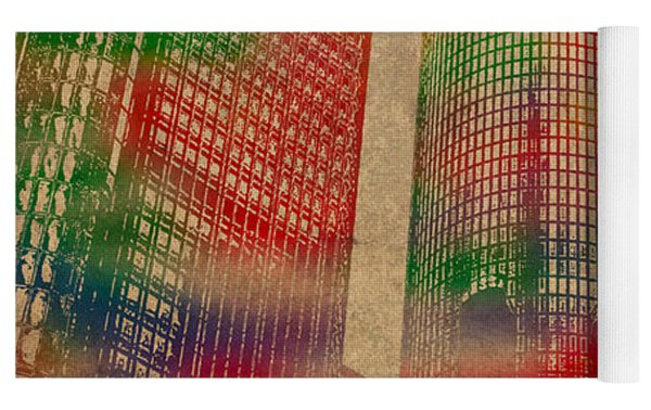 Renaissance Center Iconic Buildings Of Detroit Watercolor On Worn Canvas Series Number 2 Yoga Mat