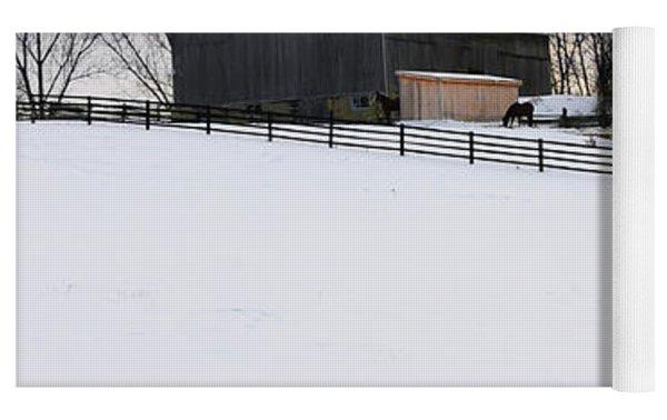 Rural Winter Landscape Yoga Mat