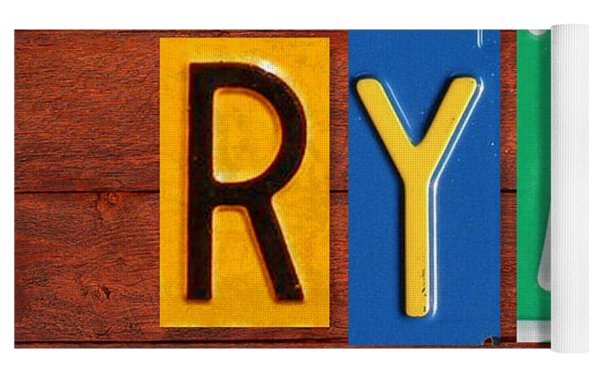 Ryan License Plate Name Sign Fun Kid Room Decor. Yoga Mat