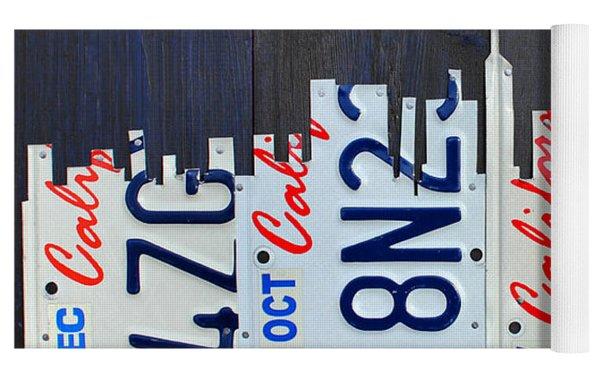 San Francisco California Skyline License Plate Art Yoga Mat