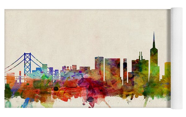 San Francisco City Skyline Yoga Mat by Michael Tompsett