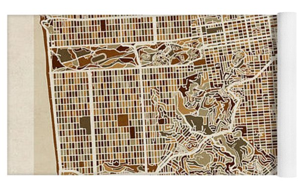 San Francisco City Street Map Yoga Mat